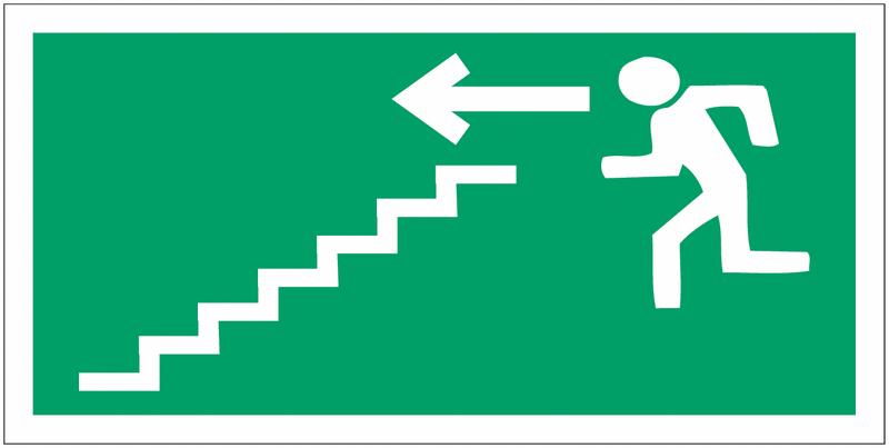 Panneaux d'évacuation haute résistance Homme qui descend l'escalier, flèche à gauche