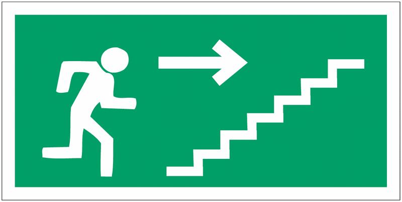 Panneaux d'évacuation haute résistance Homme qui monte l'escalier, flèche à droite