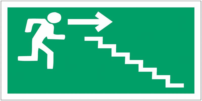 Panneaux d'évacuation haute résistance Homme qui descend l'escalier, flèche à droite