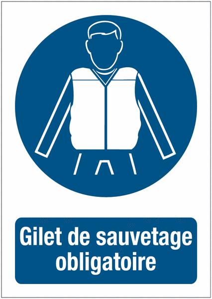 Panneaux de signalisation autour des quais Port du gilet de sauvetage obligatoire