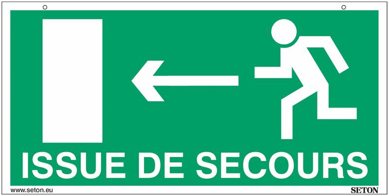 Panneaux suspendus d'évacuation homme qui court, flèche à gauche et à droite - Issue de secours