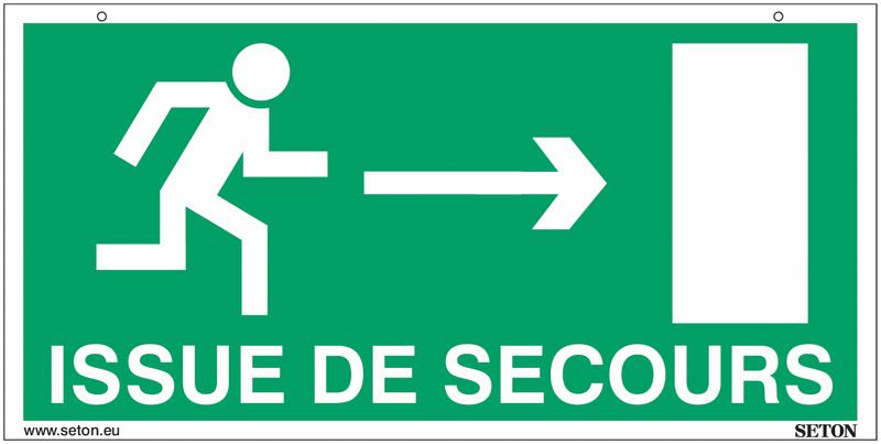 Panneaux suspendus d'évacuation homme qui court, flèche à gauche et à droite - Issue de secours - Seton