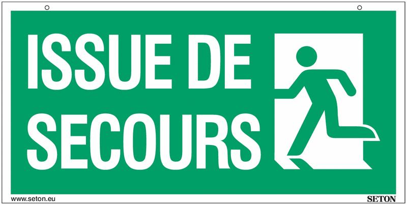 Panneaux à suspendre avec texte issue de secours marqués à gauche et à droite (recto-verso) - Seton