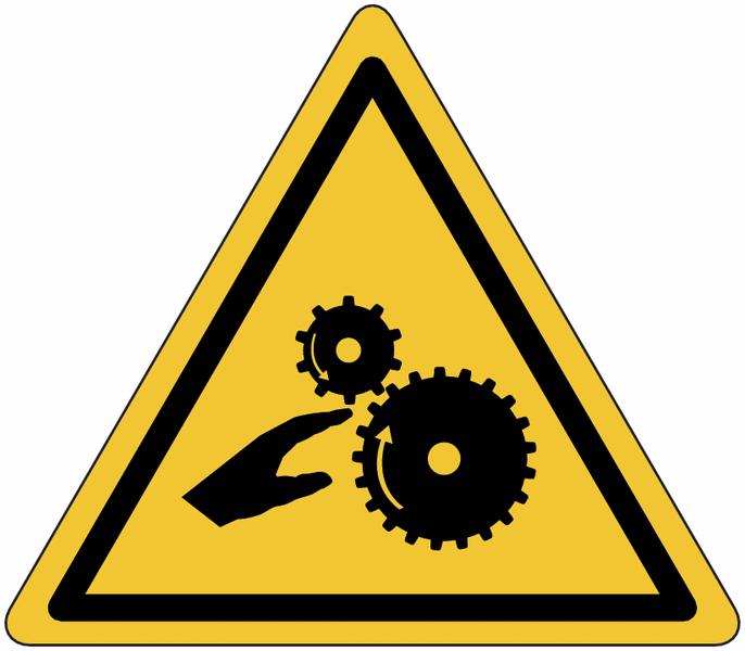 Planches d'autocollants de danger Risque d'écrasement, rouleaux lisses
