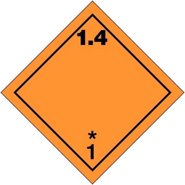 Etiquettes de transport international Matières et objets explosifs, N°1-4 en rouleau