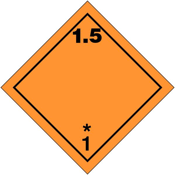 Etiquettes de transport international Matières et objets explosifs, N°1-5 en rouleau