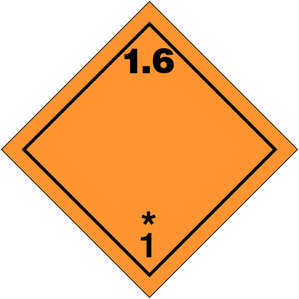 Etiquettes de transport international Matières et objets explosifs, N°1-6 en rouleau