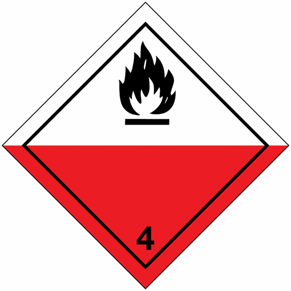 Signalisation de transport international Spontanément inflammable