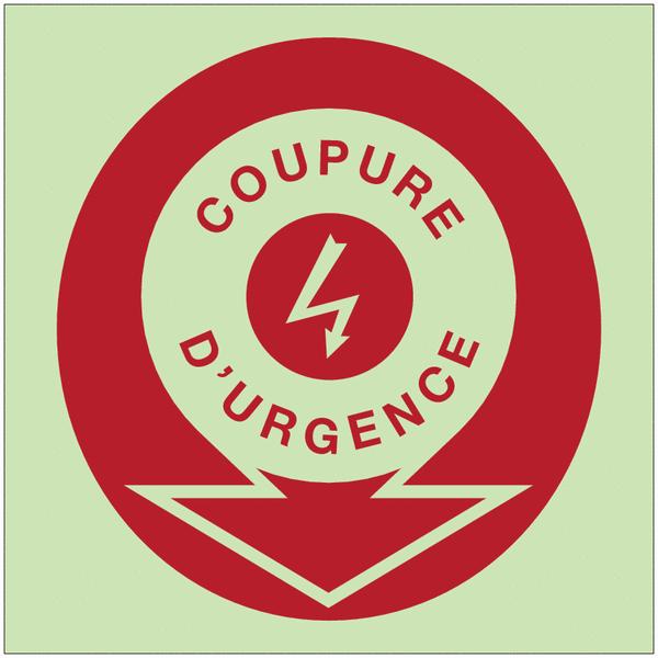 Panneaux d'incendie photoluminescents fléchés Danger électricité - Coupure d'urgence