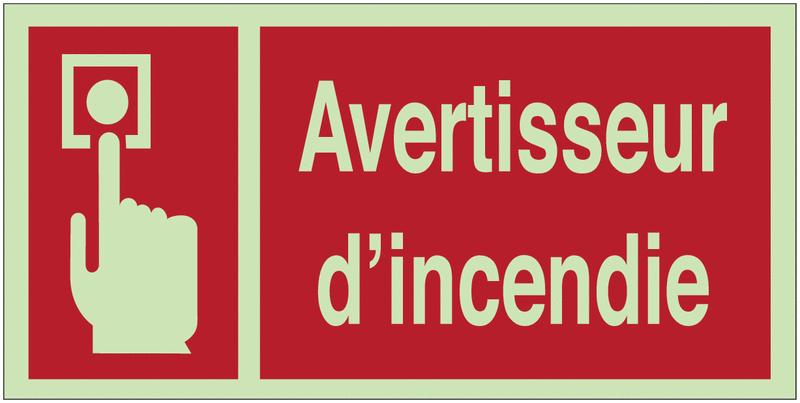 Panneaux d'incendie photoluminescents Avertisseur d'incendie avec texte