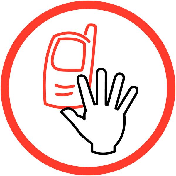 Signalisation de courtoisie Interdiction d'activer des téléphones mobiles