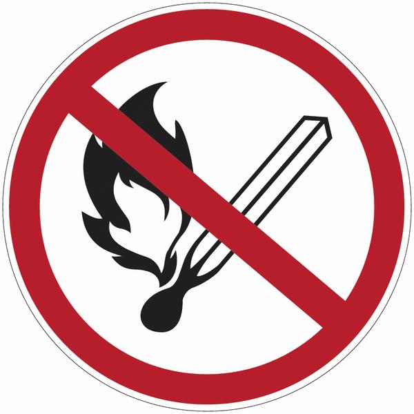 Pictogramme adhésif Flammes nues interdites en PVC semi-rigide