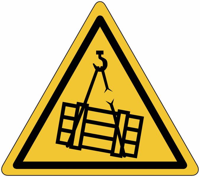 Panneau en aluminium réfléchissant Danger charges suspendues