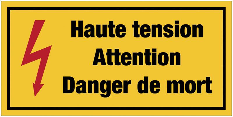 Panneaux de danger électrique rectangulaires - Haute tension attention danger de mort