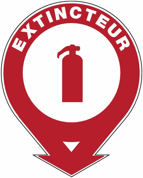 Panneaux de sécurité et incendie ronds fléchés à compléter Extincteur d'incendie