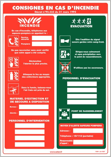 Affichage obligatoire à compléter - Consignes de sécurité en cas d'incendie