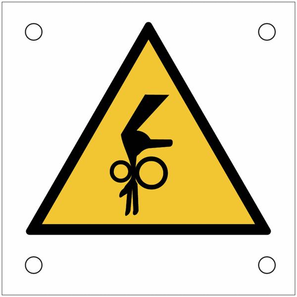 Plaques de signalisation pour machines Danger, risque d'entraînement vertical de la main dans le roulement