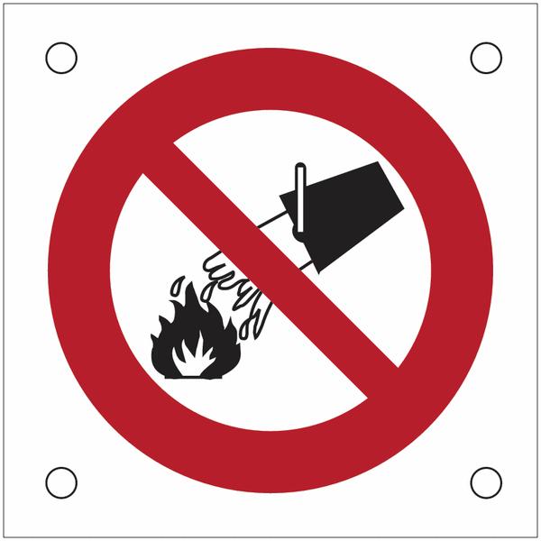 Plaques de signalisation pour machines Interdiction d'éteindre avec de l'eau
