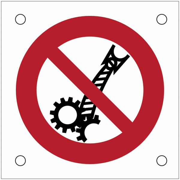 Plaques de signalisation pour machines Interdiction de porter des cravates, risque d'entrainement dans la machine en fonctionnement