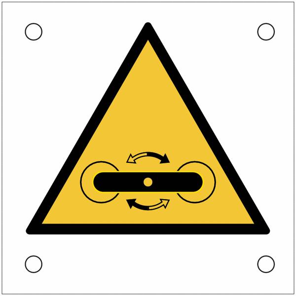 Plaques de signalisation pour machines Danger, roulement pivotant
