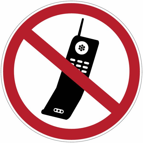 Etiquette de signalisation pour machines - Téléphones mobiles interdits