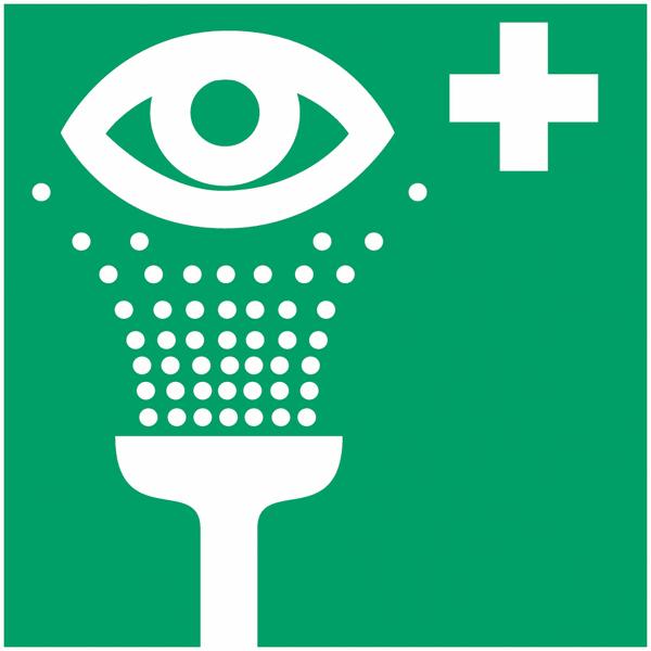 Pictogramme prestige sur aluminium Equipement de rinçage des yeux