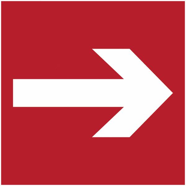 Pictogramme prestige sur aluminium Flèche directionnelle 90° - Incendie