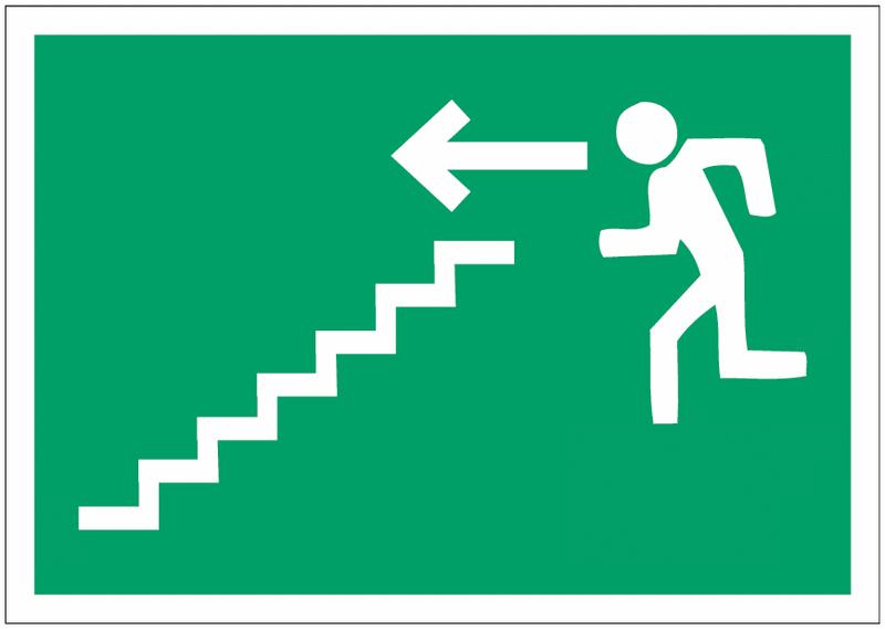 Pictogramme prestige sur aluminium Homme qui descend l'escalier, flèche à gauche