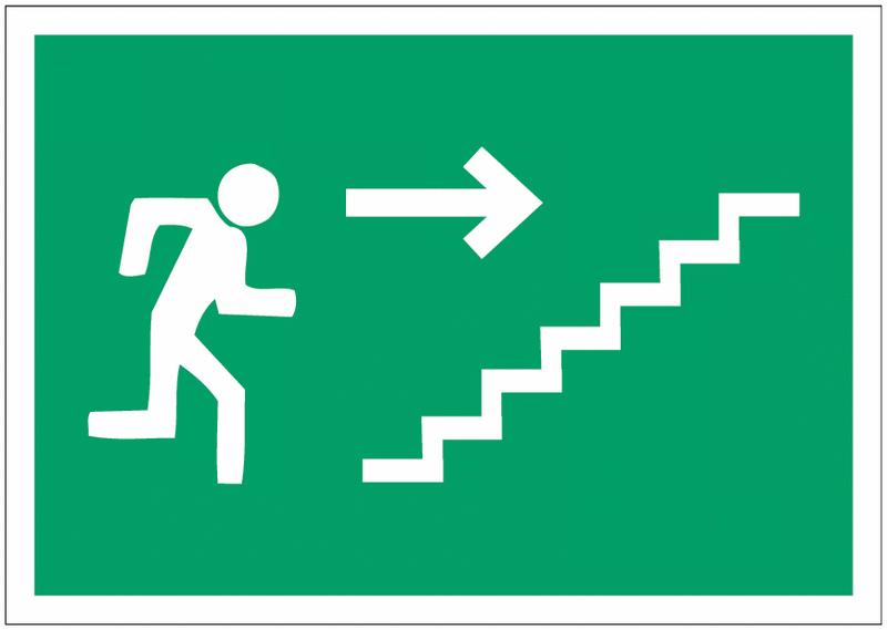 Pictogramme prestige sur aluminium Homme qui monte l'escalier, flèche à droite