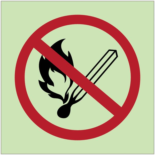Panneaux d'interdiction photoluminescent Flammes nues interdites