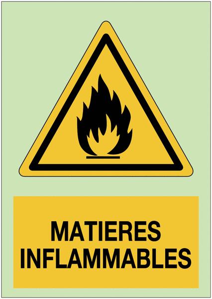 Autocollant de danger photoluminescent - Matières inflammables