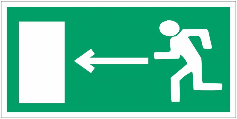 Mini autocollants d'évacuation Homme qui court, flèche à gauche