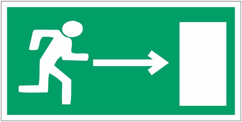 Mini autocollants d'évacuation Homme qui court, flèche à droite