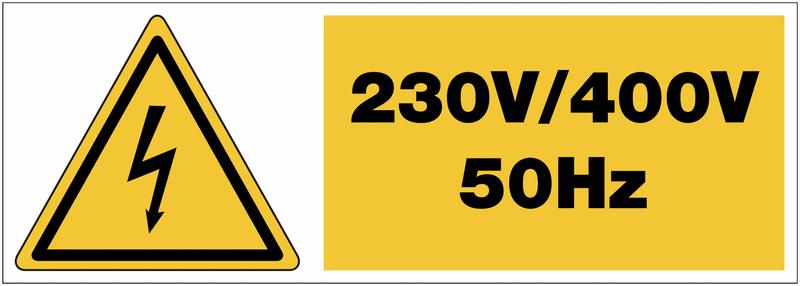 Panneau adhésif de tension Danger électricité - 230 V / 400 V / 50 Hz