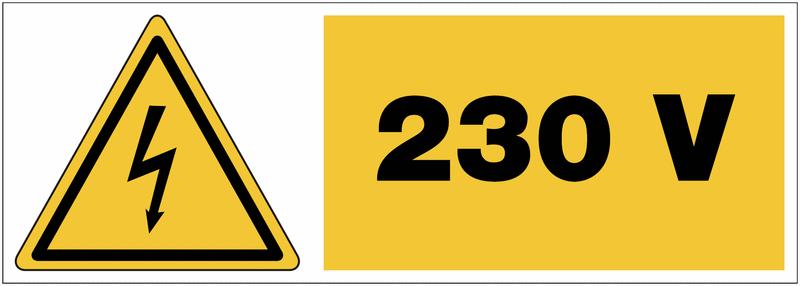 Panneau adhésif de tension Danger électricité - 230 V