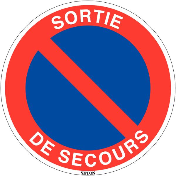 Panneau de circulation en PVC Stationnement interdit - Sortie de secours