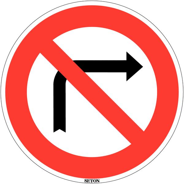 Panneau de circulation en PVC Interdiction de tourner à droite à la prochaine intersection