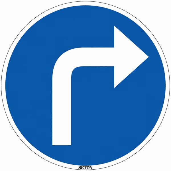 Panneau de circulation en PVC Direction obligatoire à la prochaine intersection : à droite
