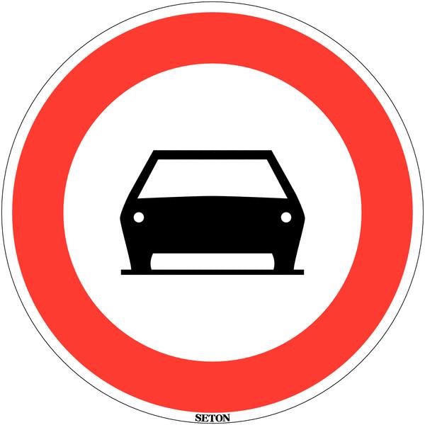 Panneau de circulation en PVC Interdit aux voitures