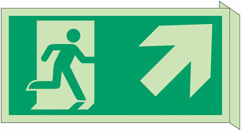 Panneau d'évacuation photoluminescent en drapeau Homme qui monte, flèche à droite