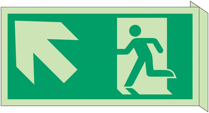 Panneau d'évacuation photoluminescent en drapeau Homme qui monte, flèche à gauche