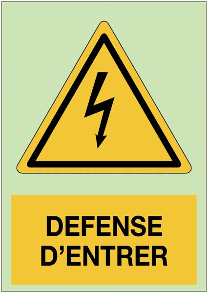 Panneau adhésif photoluminescent A5 Danger électricité - Défense d'entrer
