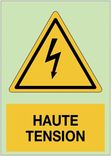 Panneau adhésif photoluminescent A5 Danger électricité - Haute tension