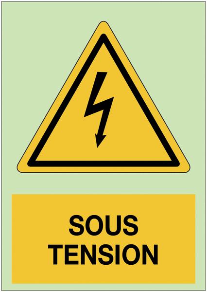 Panneau adhésif photoluminescent A5 Danger électricité - Sous tension