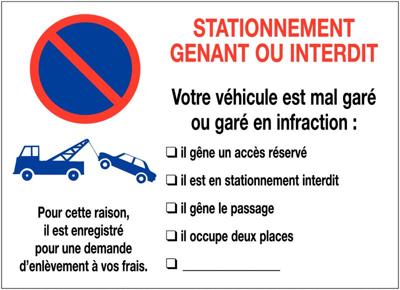 Autocollants dissuasifs à remplir Stationnement interdit - Mise en fourrière