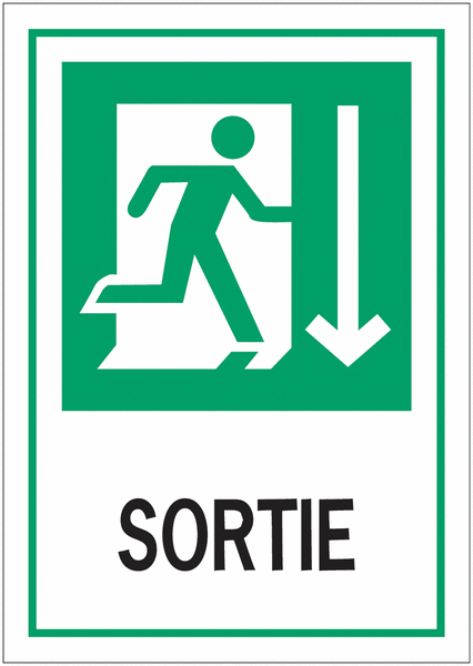 Panneau d'évacuation A4 Homme qui court, flèche en bas - Sortie