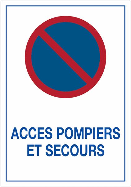 Autocollants dissuasifs Stationnement interdit - Accès pompiers et secours