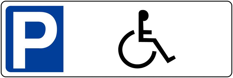 Panneau de parking en PVC Parking handicapés avec poteau de fixation