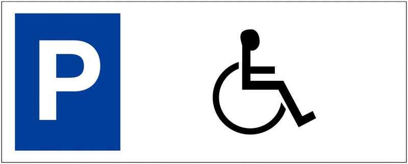 Panneau sur support double Places de parking - Handicapés