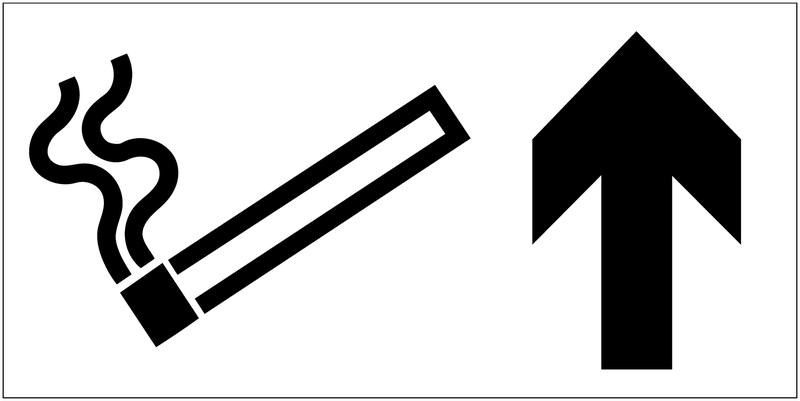 Panneau d'information Autorisation de fumer - Flèche directionnelle
